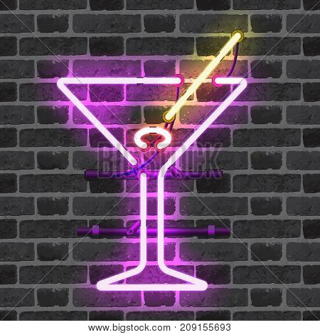 Glowing neon bar sign with martini glass, olive and stick on brick wall background. Shining and glowing neon effect. All elements are separate units with wires, tubes, brackets and holders.