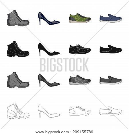Men s and women s shoes. Different types of shoes set collection icons in cartoon black monochrome outline style vector symbol stock isometric illustration .