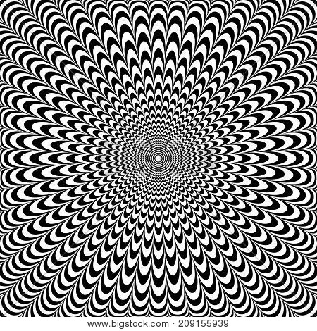 Optical illusion abstract design. Op art pattern. Vector illustration.