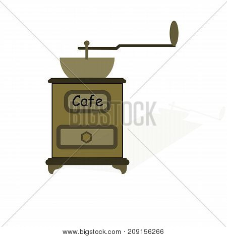 Old manual coffee grinder isolated on white background with shadow
