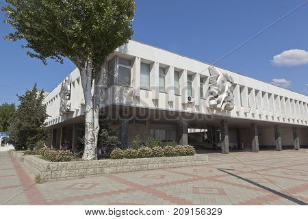 Evpatoria, Republic of Crimea, Russia - July 21, 2017: Building of the railway station Evpatoria