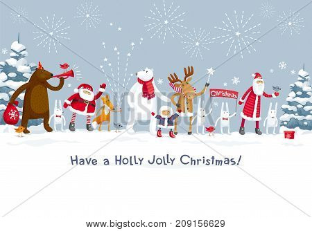 Christmas Party fireworks in the winter forest. Party with the participation of Santa Claus and funny cartoon forest animals: elk deer fox hares bear and polar bear. For posters banners sales and other winter events.