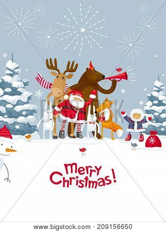 Christmas Party fireworks in the winter forest. Party with the participation of Santa Claus and funny cartoon forest animals: elk deer fox hares bear. For posters banners sales and other winter events.