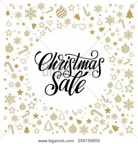 Christmas sale. Banner or poster for shopping store discount. Vector illustration.