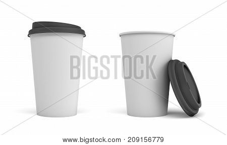 3d rendering of two white paper coffee cups with black lids, one closed and one open and leaning on the cup. Generic coffee cups. Mug template. Coffee corner.