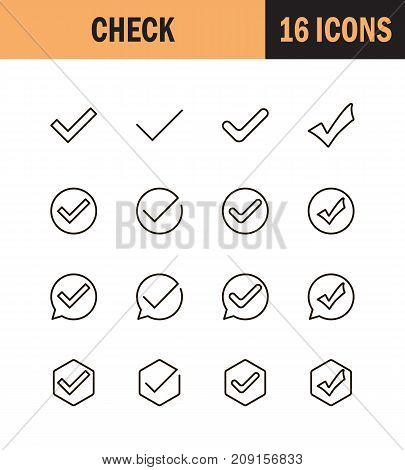 Check mark icon set. Collection of high quality outline technology pictograms in modern flat style. Black information symbol for web design and mobile app on white background. Check line logo.
