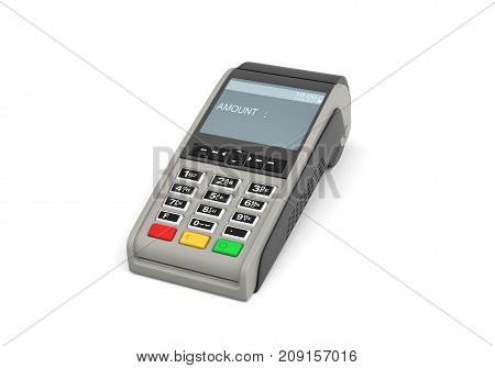 3d rendering of an empty card payment terminal in side view isolated on white background. Credit cards. Payments and transactions. Retail equipment.