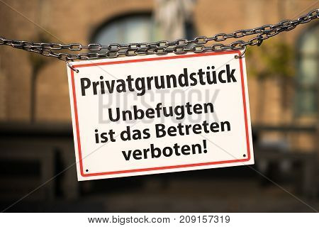 Warning sign with german text