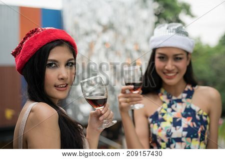 Young people are celebrating New Year's party.