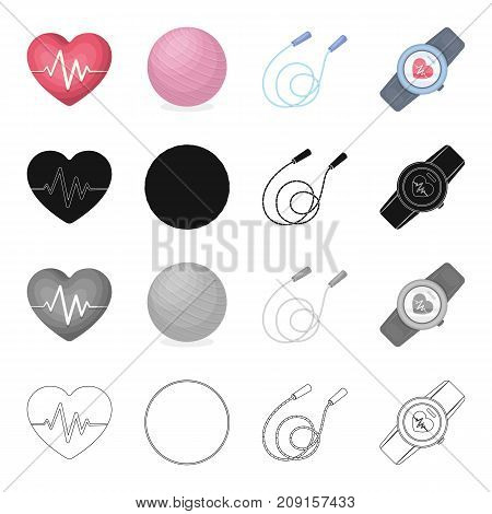 Heart with a cardiogram, ball, a training rope, a pulse watch. Training and a gym set collection icons in cartoon black monochrome outline style vector symbol stock isometric illustration .