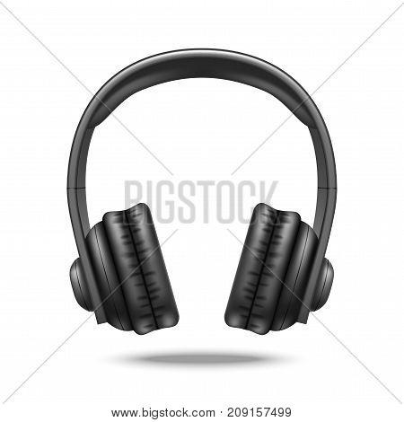 Realistic Detailed 3d Black Earphones Big Size Device for Audio Music Concept Sound. Vector illustration of Equipment Studio Headphones