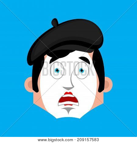 Mime Surprised Emotion Face Avatar. Pantomime Open-eyed Emoji. Mimic Icon. Vector Illustration