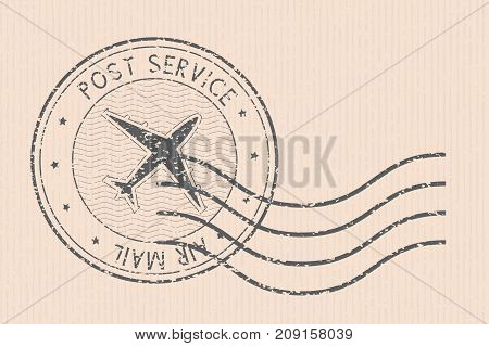 Post service round postmark with airplane black icon. Vector illustration