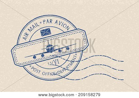 Blue postal stamp with plane icon and waves. Blue postmark on beige background. Vector illustration