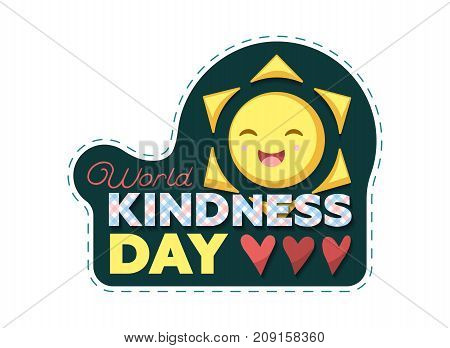 Vector Illustration For World Kindness Day With Checkered Letters and Sun