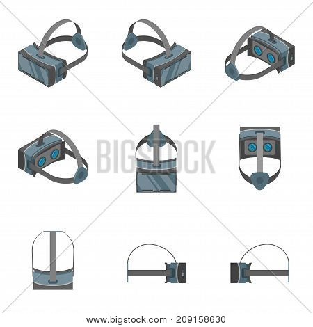 Virtual Reality Headsets Icons Set 3d Isometric View Technology Device Gadget Glass Mask. Vector illustration of Sign VR Headset Icon