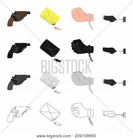 Criminal, gloves, picklock and other  icon in cartoon style.Pistol, holster, weapon, icons in set collection