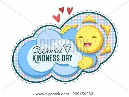 Vector Illustration For World Kindness Day With Checkered Cloud and Sun