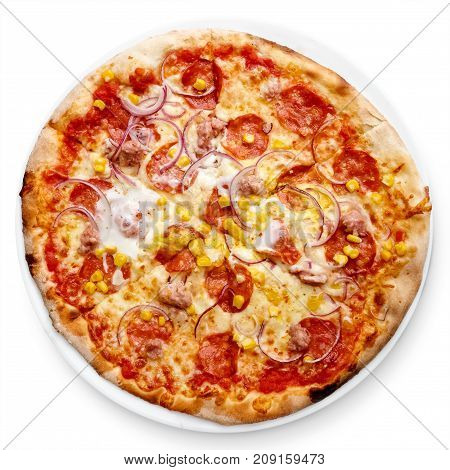 Salami Nad Sweetcorn Pizza Isolated On White From Above.