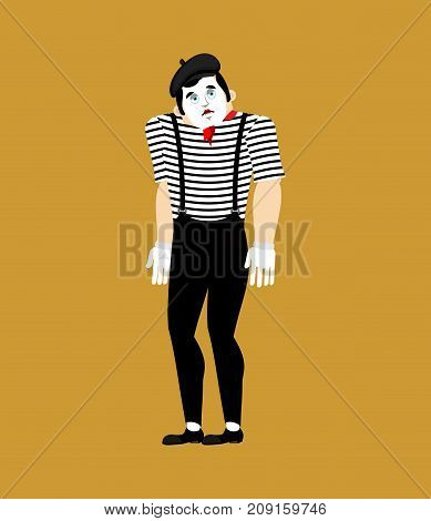Mime Sad. Pantomime Sorrowful. Mimic Sorry. Vector Illustration