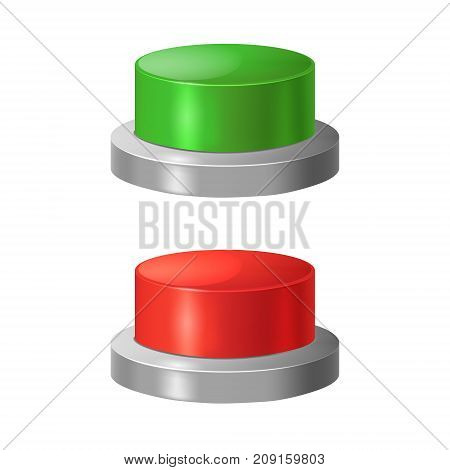 Realistic Detailed 3d Red and Green Shiny Round Push Buttons Closeup View Concept Start or Stop. Vector illustration of Color Button