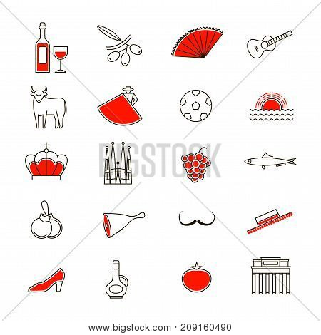 Symbol of Spain Thin Line Icon Set Style Design Element Travel. Vector illustration of Spanish National Culture, Food and Monument
