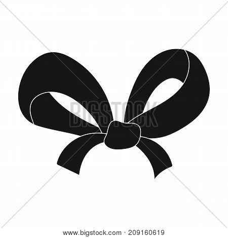 Knot, ornamentals, frippery, and other  icon in black style.Bow ribbon decoration