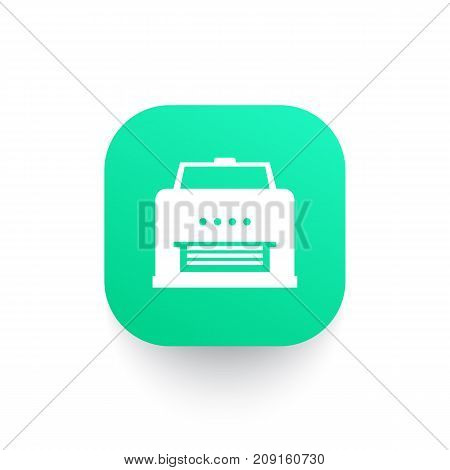 printer icon, sign on green shape, vector illustration