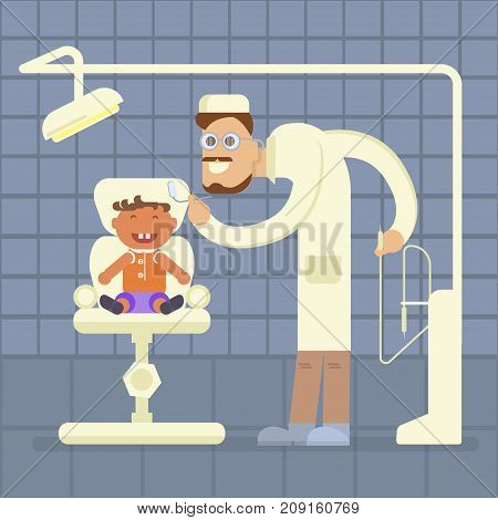 Dental office concept. Dentist and child patient in chair. Vector illustration of a flat design eps 10