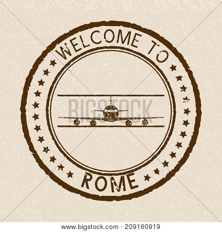 Welcome to Rome. Brown travel label postmark. Vector illustration on beige background