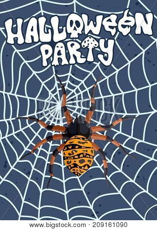 poster advertising for Halloween with a spider on a web