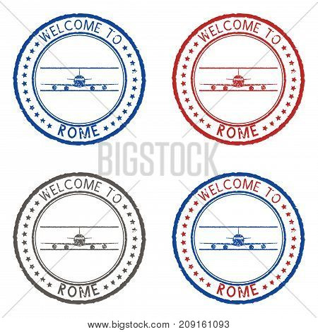 Welcome to Rome. Colored ink postmark. Vector illustration isolated on white background