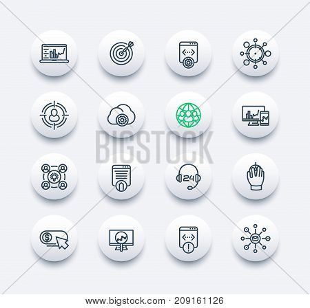 seo line icons set, search engine optimization, digital marketing, website analysis, indexing, vector illustration