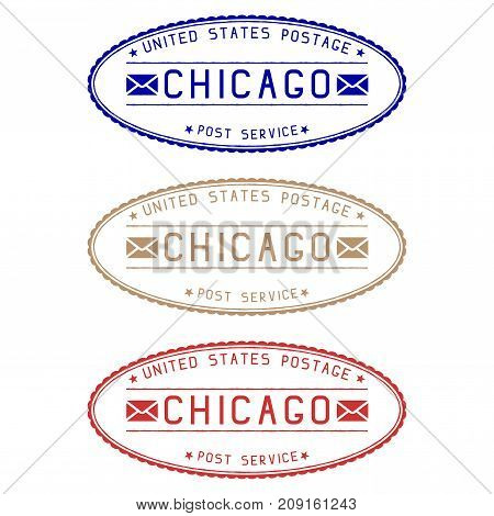 Chicago mail stamps. Colored set of oval impress. Vector illustration isolated on white background