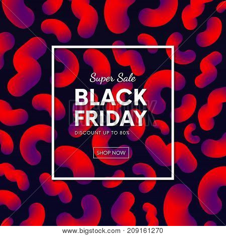 Abstract Black Friday Sale Banner Vector Design With Abstract Fluid Backdrop.