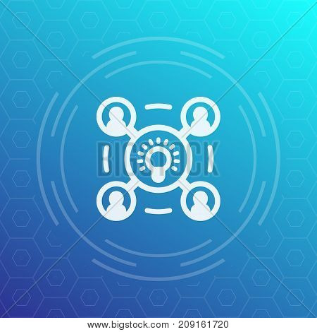 brainstorm icon, pictogram with bulb as idea and people, vector illustration