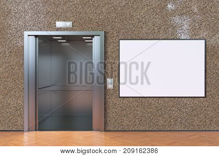 Empty Elevator Cabin With Open Doors And Blank Poster