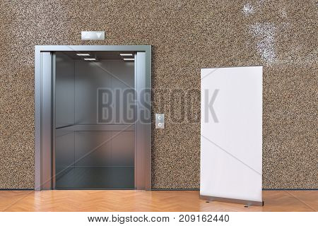 Elevator With Open Doors And Blank Roll Up Banner
