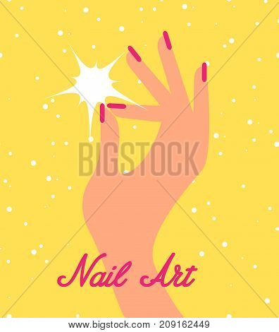 Woman hand with pink fingernails. Gift certificate for nail salon