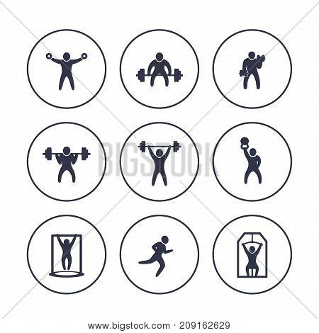 Gym, fitness exercises icons in circles over white, workout, training, bodybuilding, weightlifting, vector illustration