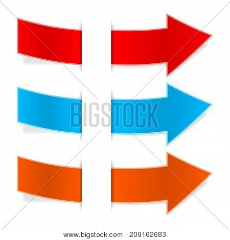 Colored arrows through white paper pocket. Vector 3d illustration