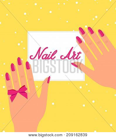 Woman hands with pink fingernails on yellow background. Gift certificate for nail salon