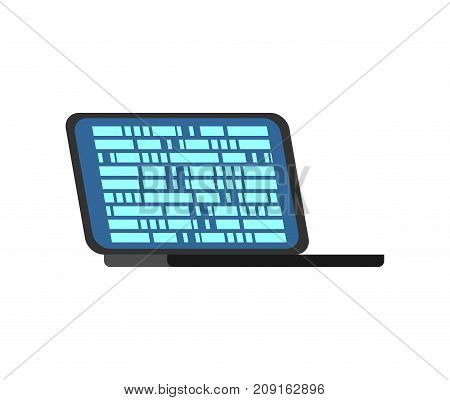 Laptop calculating isolated. portable computer on white background. Vector illustration