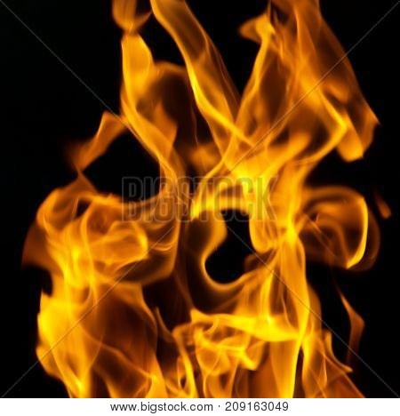 fire flames on a black background . Photo of abstract background