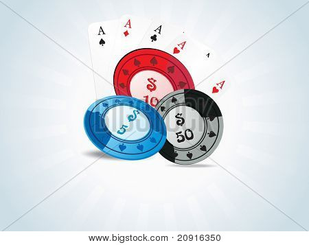 vector of poker chips and playing cards
