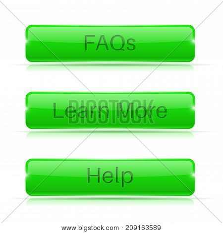FAQs, Learn More, Help buttons. Green rectangular 3d icons. Vector illustration isolated on white background