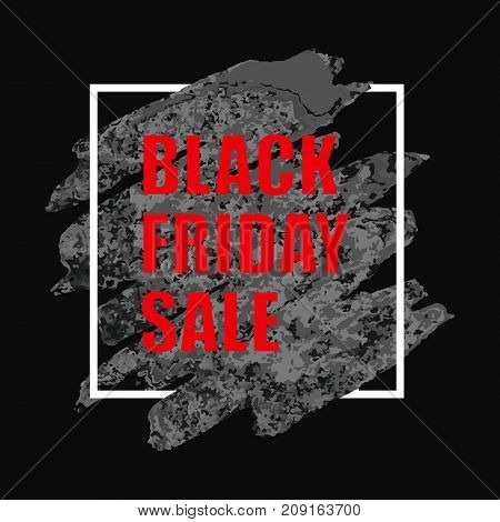 Vector illustration of Black Friday Sale banner with watercolor spot on white background. Inscription design template.