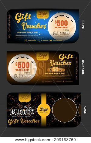 Vector gift voucher with case set to Happy Halloween holiday on the blue and brown background.