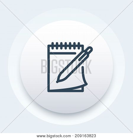 notebook and pen vector icon in line style, eps 10 file, easy to edit