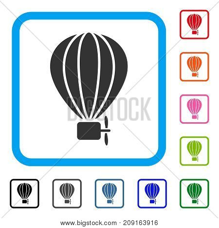 Aerostat Balloon icon. Flat gray iconic symbol inside a light blue rounded rectangle. Black, gray, green, blue, red, orange color variants of Aerostat Balloon vector.